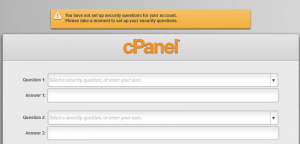 Havenswift cPanel Security Question Setup Screen