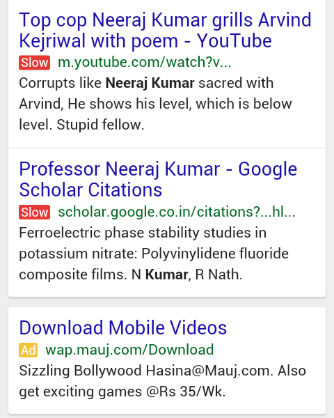 Google Testing Mobile Slow Label