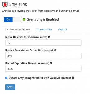 cPanel Greylisting Default Settings