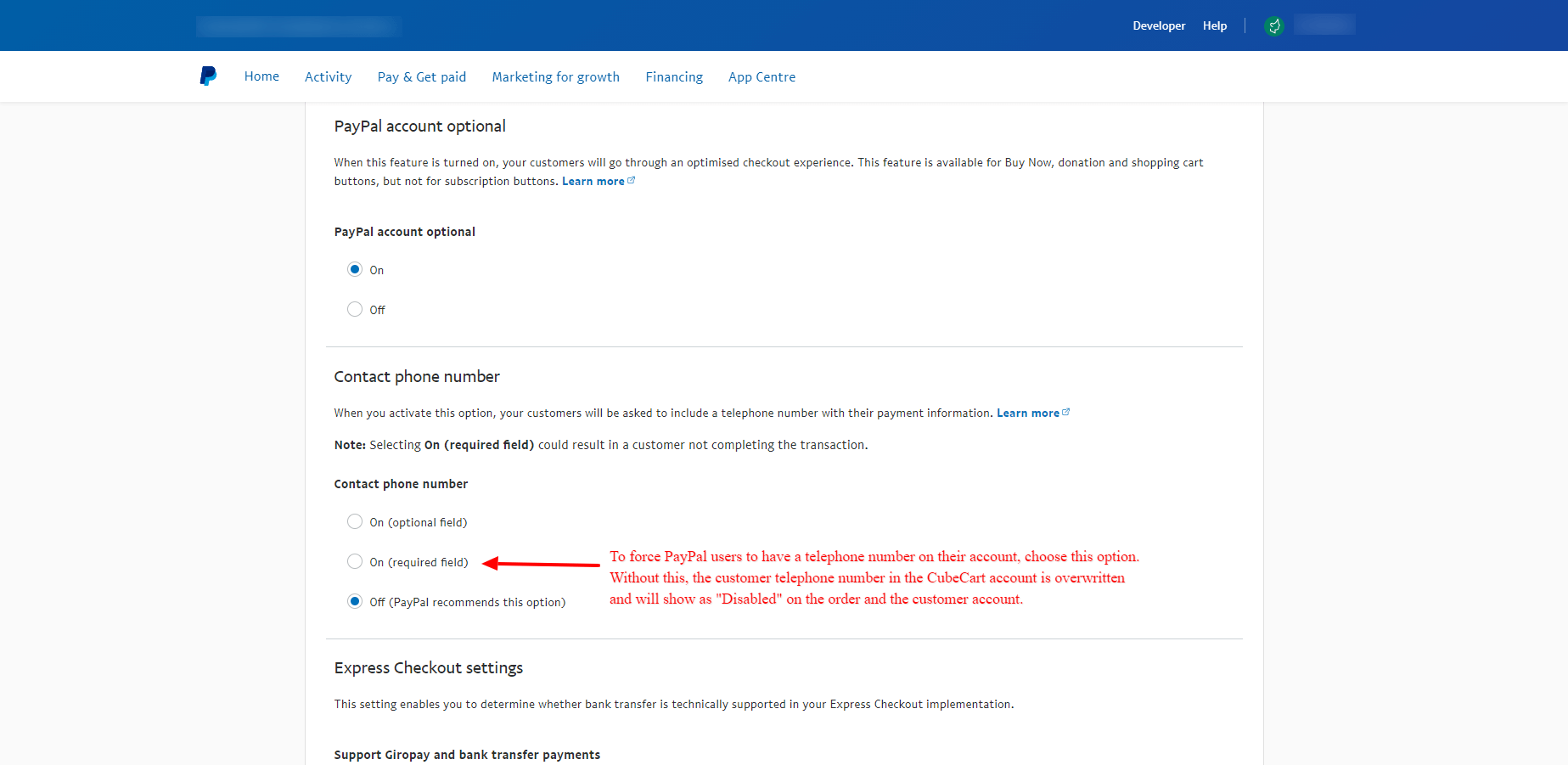 PayPal Telephone Number Settings